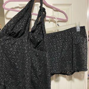 2 piece black bathing suit